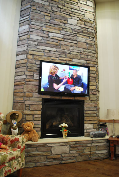 Stone Fireplace LCD TV
